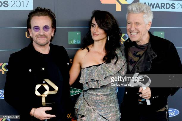 Bono Penelope Cruz and Adam Clayton attend the 40 Music Awards press room at WiZink Center on November 10 2017 in Madrid Spain
