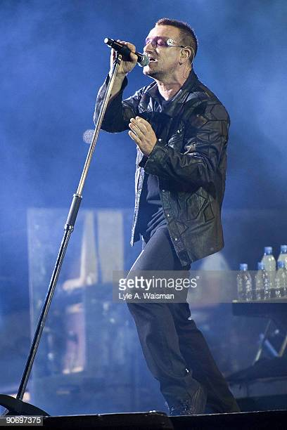 Bono performs during the U2 360 North American tour opener at Soldier Field on September 12, 2009 in Chicago, Illinois.
