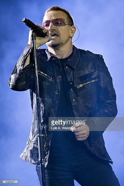 Bono performs during the U2 360 tour at Soldier Field on September 13, 2009 in Chicago, Illinois.