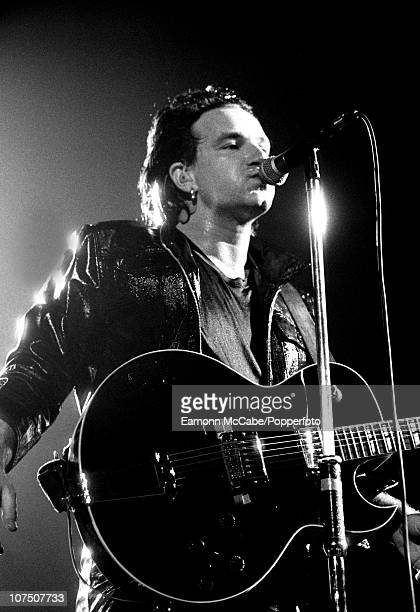 Bono of U2 performs on stage on the Zooropa Tour at Wembley Stadium on 11th August 1993 in London