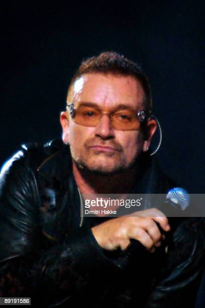 Bono performs on stage as part of their 360 Degrees world tour at Amsterdam Arena on July 21 2009 in Amsterdam Netherlands