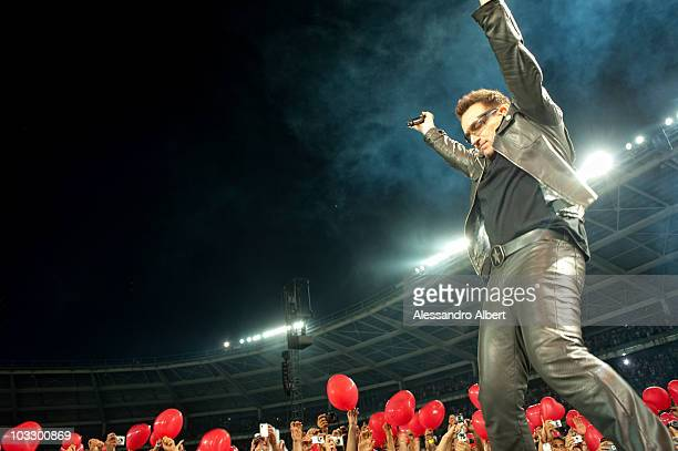 Bono performs on stage during the U2 360 Tour on August 06, 2010 in Turin, Italy.