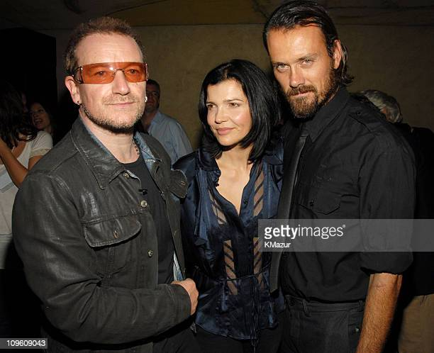 Bono Rogan Gregory and Ali Hewson during EDUN and ONE The Campaign to Make Poverty History at Hudson Hotel in New York City New York United States