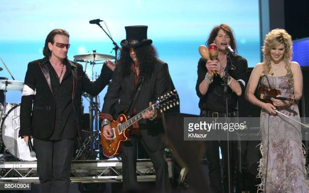 Bono Slash Steven Tyler and Alison Krauss perform Across the Universe for the Tsunami Relief performance Photo by KMazur/WireImage for The Recording...