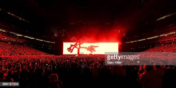 Bono The Edge Adam Clayton and Larry Mullen Jr of U2 perform on The Joshua Tree Tour at NRG Stadium on May 24 2017 in Houston Texas