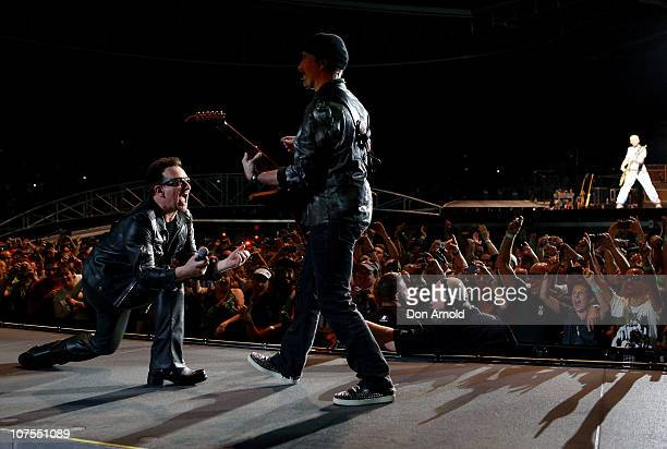 Bono The Edge and Adam Clayton of U2 perform on stage at ANZ Stadium on December 13 2010 in Sydney Australia