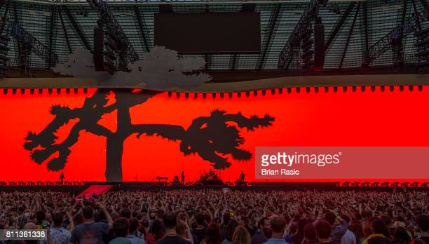 Bono The Edge Larry Mullen Jr and Adam Clayton of U2 performing at Twickenham Stadium on July 8 2017 in London England