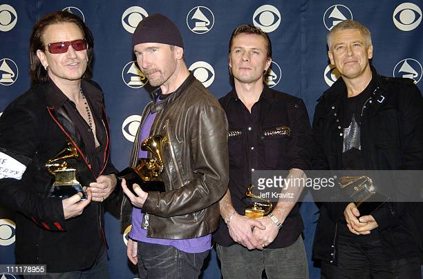 Bono The Edge Larry Mullen Jr and Adam Clayton of U2 winners of Best Rock Performance by a Duo or Group with Vocal for Vertigo Best Short Form Music...