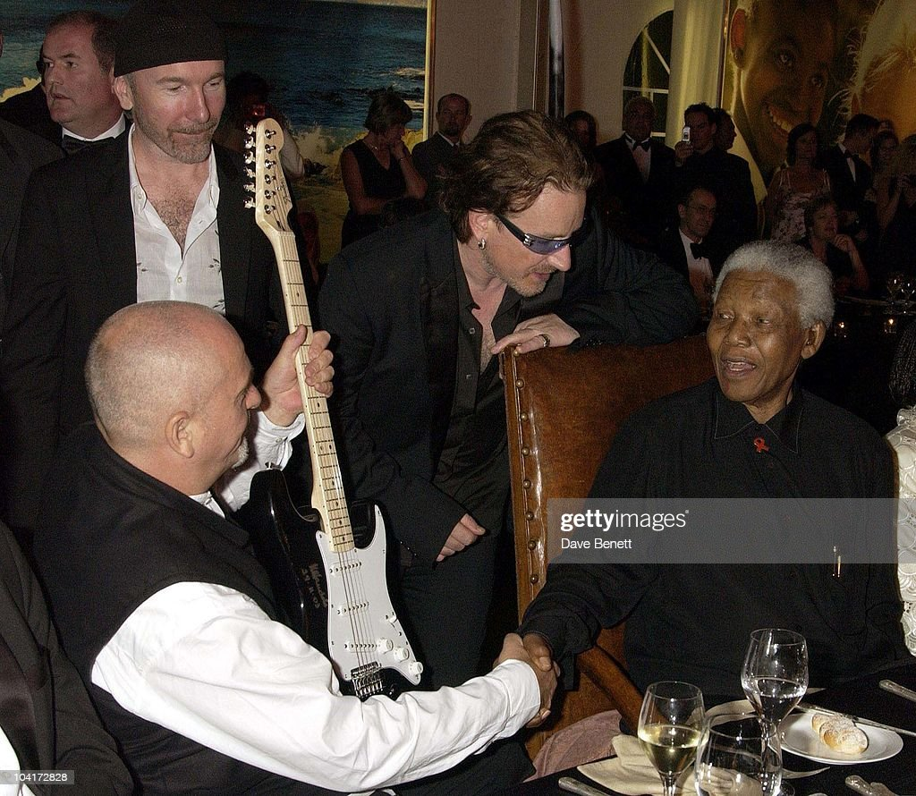 Bono, The Edge (u2) Peter Gabriel And Nelson Mandela, The Stars Of Rock And Roll Join Forces For Nelson Mandela's 46664 Concert In Cape Town, South Africa. In The Pre, Concert Build Up, This Evening A Gala Dinner Was Held At The Vergelegen Estate Outside Cape Town, South Africa Gears Up For Aids Awareness Mandela Concert 46664. The Concert Is In Association With Mtv's Staying Alive & Www.46664.com Powered By Tiscali.