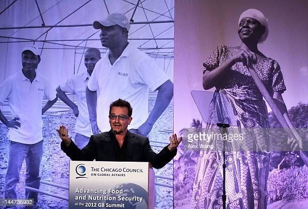 Bono U2 lead singer and cofounder of ONE speaks during the Symposium on Global Agriculture and Food Security May 18 2012 at the Ronald Reagan...