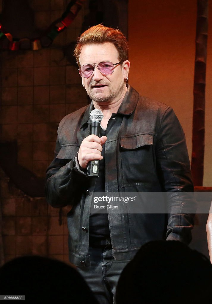 Bono visits 'Eclipsed' to launch a dedication series in honor of abducted Chibok Girls of Northern Nigeriaon at The Golden Theatre on April 30, 2016 in New York, New York.