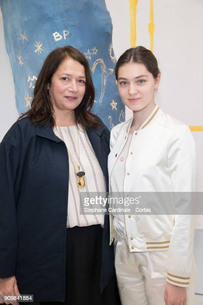 Bonpoint Artistic Director Christine Innamorato and Anamaria Vartolomei attends the Bonpoint Winter 2018 show as part of Paris Fashion Week January...