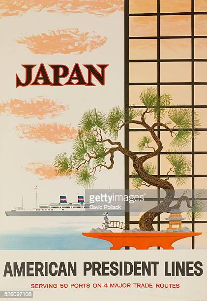 Bonsai and shoji screen frame a window as 2 masted liner sails past