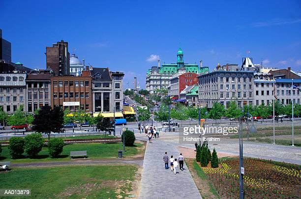 bonsecours market in old montreal - place jacques cartier stock pictures, royalty-free photos & images