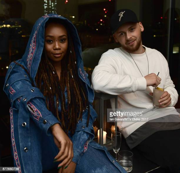 Bontle Modiselle and Manuel Krappinger attend the It Girls and MTV EMA Correspondents Dinner held at The Ace Hotel ahead of the MTV EMAs 2017 on...
