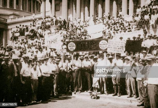 Bonus Army' demonstrating outside the Capitol Washington DC USA Great Depression 1932 The 'Bonus Army' was a protest by First World War veterans...