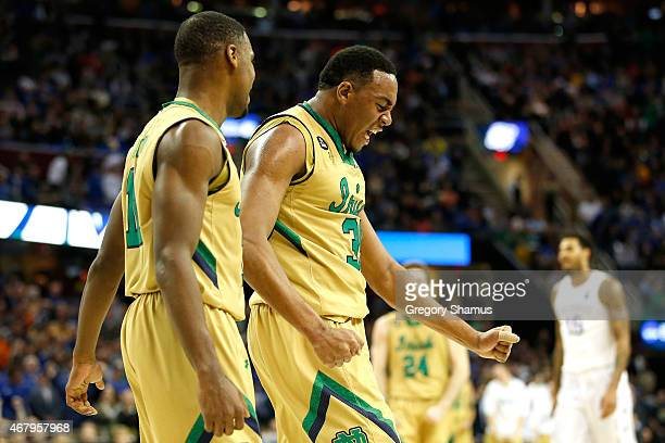 Bonzie Colson of the Notre Dame Fighting Irish reacts after a play in the first half against the Kentucky Wildcats during the Midwest Regional Final...