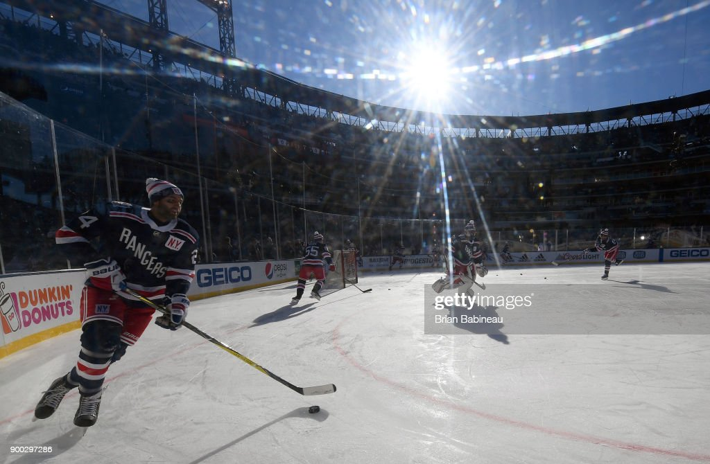 Boo Nieves #24 of the New York Rangers skates during warm-up prior to the 2018 Bridgestone NHL Winter Classic between the New York Rangers and the Buffalo Sabres at Citi Field on January 1, 2018 in the Flushing neighborhood of the Queens borough of New York City.