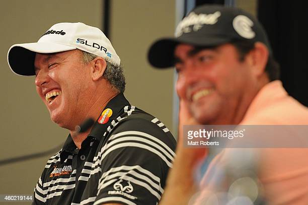 Boo Weekley of the United States shares a laugh with Steven Bowditch of Australia duting a press conference ahead of the 2014 Australian PGA...