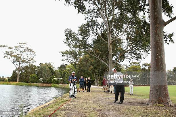 Boo Weekley of the USA plays a shot during day two of the Australian Masters at The Metropolitan Golf Course on November 21, 2014 in Melbourne,...