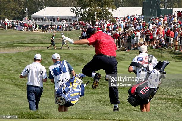 Boo Weekley of the USA team clowns around as he walks off the first tee during the singles matches on the final day of the 2008 Ryder Cup at Valhalla...