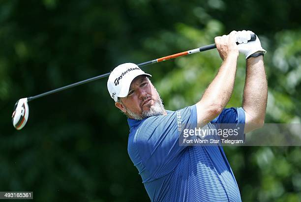 Boo Weekley watches his tee shot on the sixth hole during the opening round of the Crowne Plaza Invitational at Colonial in Fort Worth, Texas, on May...