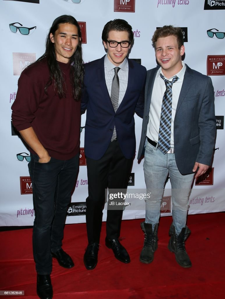 Booboo Stewart, Michael Grant and Jonathan Lipnicki attend the premiere of Meritage Pictures' 'Pitching Tents' on March 30, 2017 in Santa Monica, California.