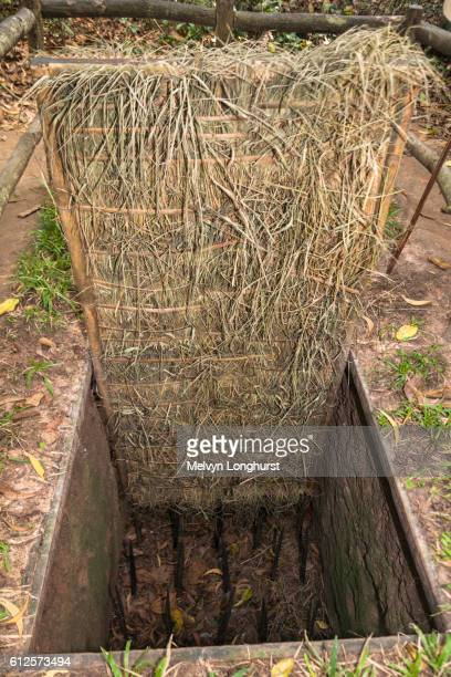 a booby trap at ben dinh, cu chi, near ho chi minh city, (saigon), vietnam - booby trap stock pictures, royalty-free photos & images