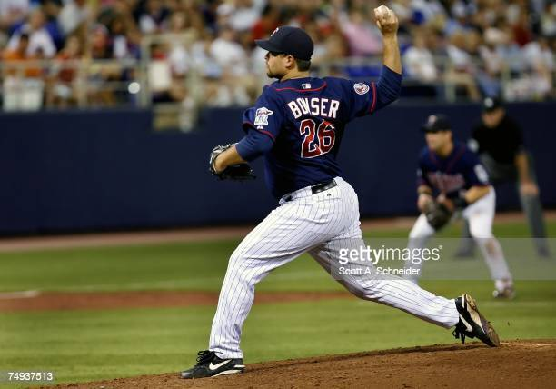 Boof Bonser of the Minnesota Twins pitches against the Toronto Blue Jays June 27 2007 at the Metrodome in Minneapolis Minnesota