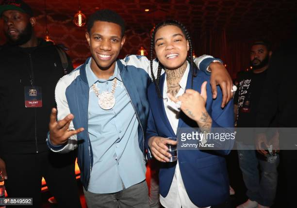 Boogie and Young MA attend the 2018 Global Spin Awards at The Novo by Microsoft on February 15 2018 in Los Angeles California