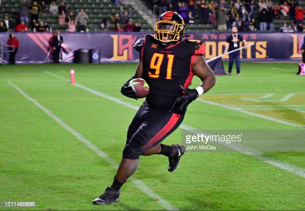 Boogie Roberts of the LA Wildcats scored a touchdown on a fumble recovery against the Tampa Bay Vipers at Dignity Health Sports Park during an XFL...