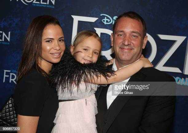 Boogie Tillman Betty Boogie Parker and Trey Parker pose at the opening night after party for Disney's new hit musical Frozen on Broadway at Terminal...