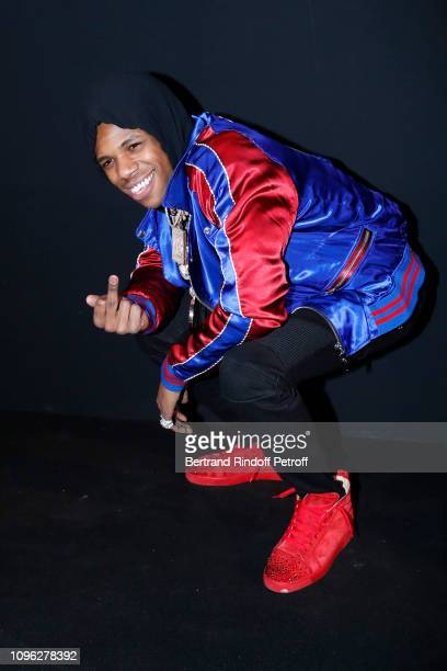 Boogie Wit Da Hoodie attends the Balmain Homme Menswear Fall/Winter 20192020 show as part of Paris Fashion Week on January 18 2019 in Paris France