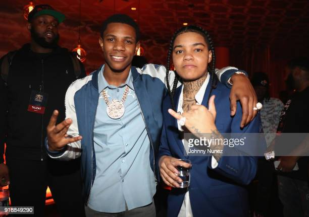Boogiei and Young MA attend the 2018 Global Spin Awards at The Novo by Microsoft on February 15 2018 in Los Angeles California