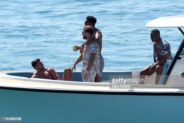 Boohoo BoohooMAN take Adam Collard Dom Lever Theo Campbell and Sherif Olanrewaju for a Yacht Trip on July 29 2019 in Marbella Spain