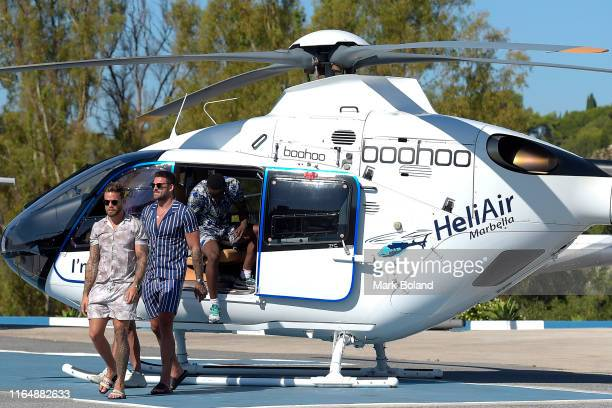 Boohoo BoohooMAN take Dom Lever Adam Collard and Sherif Olanrewaju for a Helicopter ride followed by a Yacht Trip on July 29 2019 in Marbella Spain