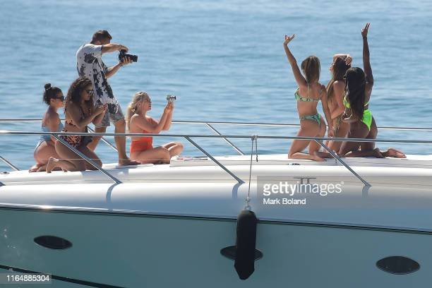 Boohoo BoohooMAN take Kady Mcdermott Stpehanie Lam and Samira Mighty for a Yacht Trip on July 29 2019 in Marbella Spain