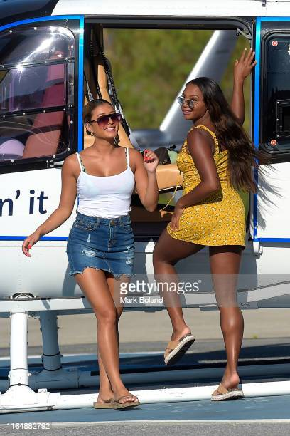 Boohoo BoohooMAN take Kaz Crossley and Samira Mighty for a Helicopter ride followed by a Yacht Trip on July 29 2019 in Marbella Spain