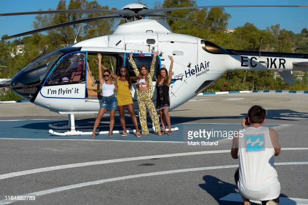 Boohoo BoohooMAN take Kaz Crossley Samira Mighty Stephanie Lam and Kady Mcdermott for a Helicopter ride followed by a Yacht Trip on July 29 2019 in...