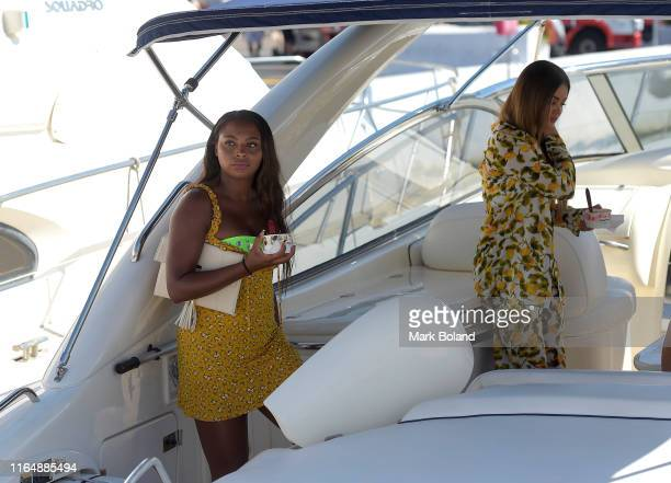 Boohoo BoohooMAN take Samira Myghty and Stephanie Lam for a Yacht Trip on July 29 2019 in Marbella Spain