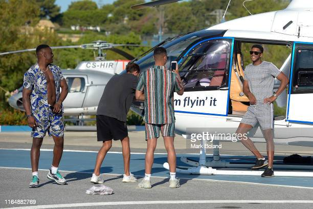 Boohoo BoohooMAN take Sherif Olanrewaju Rykard Jenkins and Theo Campbell for a Helicopter ride followed by a Yacht Trip on July 29 2019 in Marbella...