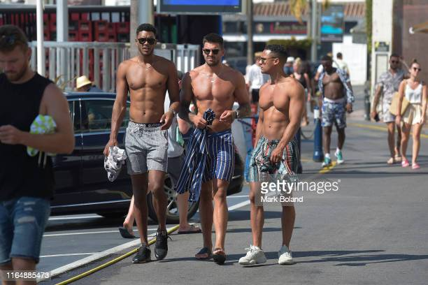 Boohoo BoohooMAN take Theo Campbell Adam Collard and Rykard Jenkins for a Yacht Trip on July 29 2019 in Marbella Spain