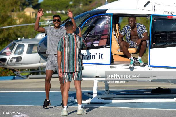 Boohoo BoohooMAN take Theo Campbell Rykard Jenkins and Sherif Olanrewaju for a Helicopter ride followed by a Yacht Trip on July 29 2019 in Marbella...