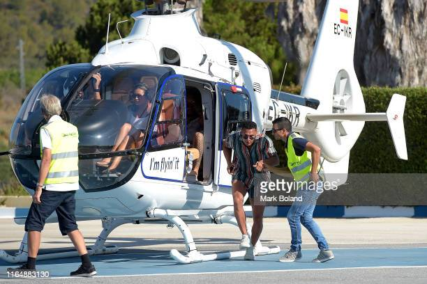 Boohoo BoohooMAN takes Rykard Jenkins for a Helicopter ride followed by a Yacht Trip on July 29 2019 in Marbella Spain