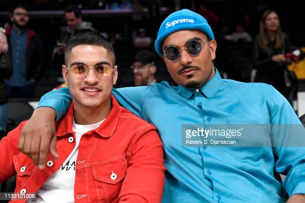 boohooMAN CEO Samir Kamani and PrettyLittleThingcom CEO Umar Kamani attend a basketball game between the Los Angeles Lakers and the Milwaukee Bucks...