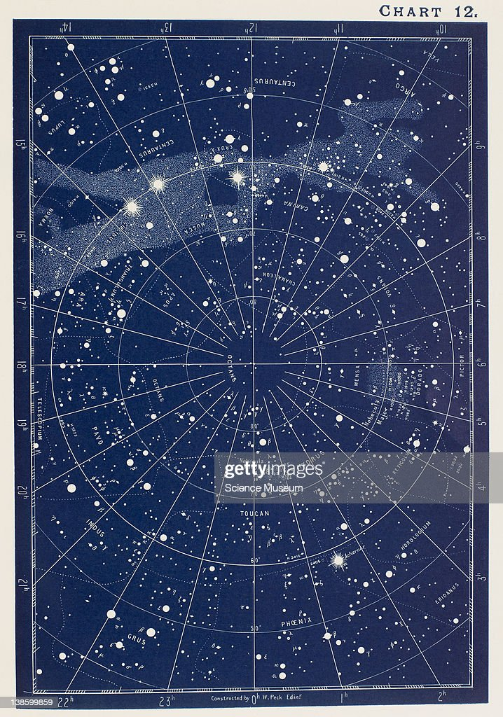 A Handbook and Atlas of Astronomy; W. Peck, F.R.A.S. Designed as a complete guide to a knowledge of the heavenly bodies; and as an aid to those possessing telescopes. Gall and Inglis. Interesting objects for the telescope. Chart 12.