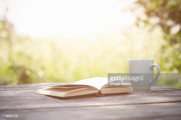 Book and cup on garden table.