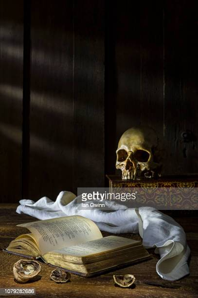 book and skull vanitas_1 - ian gwinn stock pictures, royalty-free photos & images