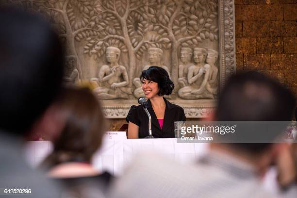 Book author Loung Ung smiles during a press conference ahead of the premiere of the film adaptation of her book First They Killed My Father set up at...
