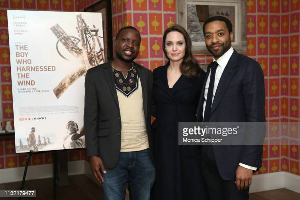 Book author William Kamkwamba host Angelina Jolie and director Chiwetel Ejiofor attend The Boy Who Harnessed The Wind Special Screening at Crosby...